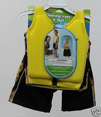 Surf Club Floating Vest & Swim Trunk Yellow Black Flame Size XSmall 21-22""