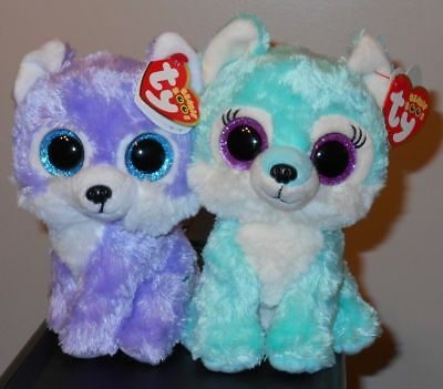 """Ty Beanie Boos Set ~ IRIS & JADE the 6"""" Wolves ~ GWL Exclusives ~ 2017 NEW"""