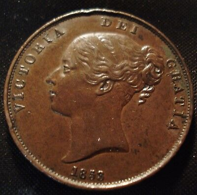 1853 Ot Victoria Penny We Grade Gvf Peck 1500 See Pictures