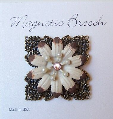 Magnetic Brooch Clip Clasp Pin Brushed Gold Cream Metal Flower Scarves Shawl