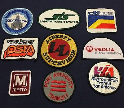 9 Different Transit Transportation Bus Train Company Patches Patch Unused