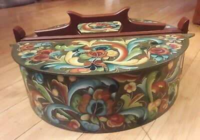 Painted Bentwood Norwegian Tine Box Scandinavian