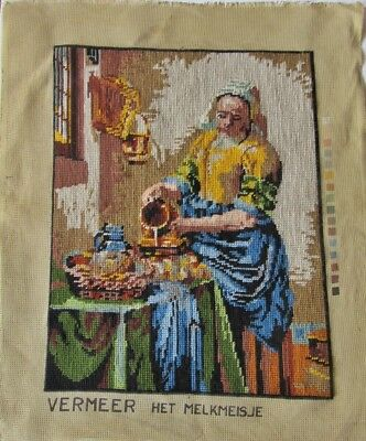 "Jewel Tone Finished 13 x 17"" Tapestry of Johannes Vermeer's The Milkmaid"