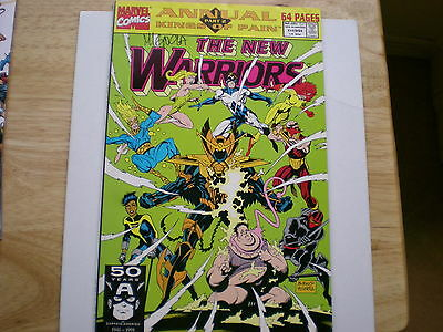 """1991 Marvel New Warriors Annual # 1 64 Pages Signed Mike """"hellboy"""" Mignola"""
