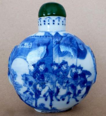 Snuff Bottle, Large Porcelain, Blue & White, Green, with spoon, antique? Chinese