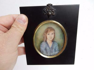 old PAINTING MINIATURE portrait of GIRL SIGNED