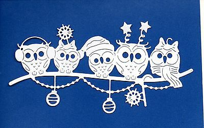 New Tattered Lace Christmas Owl Family Die Cuts - White Topper-Snow Winter