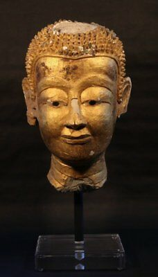 Lifesize Ayutthaya Stucco and Gold Leaf Buddha Temple head