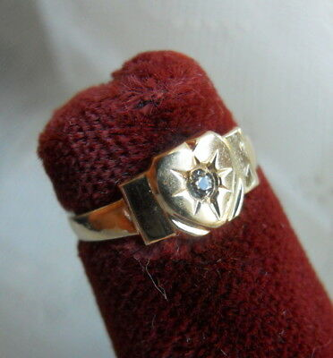 Antique VICTORIAN 10K Gold Heart Motif BABY RING with Clear Stone Size 1