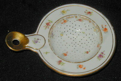 Antique Porcelain Hand Painted Tea Strainer With Flowers, Germany, Dresden?