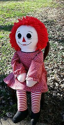 "Vintage Raggedy Ann 1985 Large 36"" Doll I Love You plush toy collector classic"