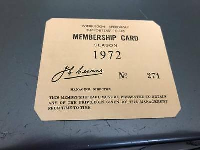 Wimbledon Dons--Speedway Supporters Club--Membership Card 1972--No 271
