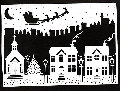 New A5 Card Front Santa Over Town Die Cuts - Christmas Silhouette Topper Snow