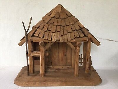 "Vtg ANRI Wood STABLE for Nativity Scene Creche STABLE ONLY for 6"" Figures"