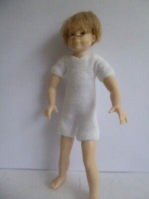 1:12 scale undressed dollhouse 4 inch boy doll with blonde hair & glasses