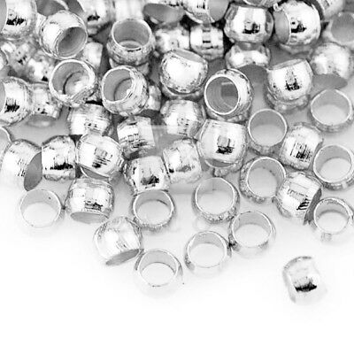 (1200pcs)20g Crimp End Beads Round Silver Jewelry Findings 2x2mm CP0002