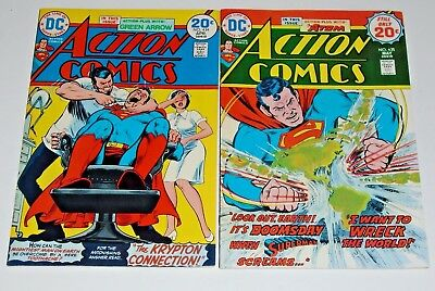 Action comics #434 and #435 comic lot, VF/Nmint copies. Glossy covers