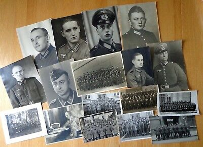 WW2 German Top !! LOT of 17 Soldiers Portrait Large Size Photo Nice LOT ! Look !