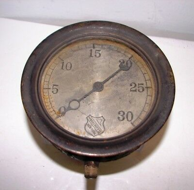 "antique Ashcroft Mfg Co. Steam Pressure gauge 6"" brass & Iron steampunk"