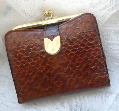 ST. THOMAS Vintage Genuine COBRA Snake Skin Wallet Ladies Billfold