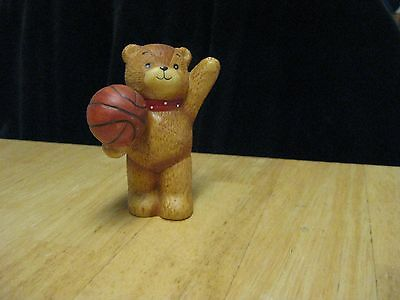 Vintage  Enesco Lucy & Me Bear Figurine Sports Basketball
