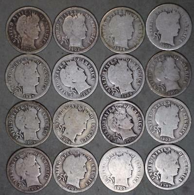 Barber Dime Lot of 16 Silver Coins