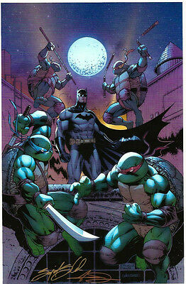 Sajad Shah & Adelso Corona SIGNED Batman Teenage Mutant Ninja Turtles Art Print