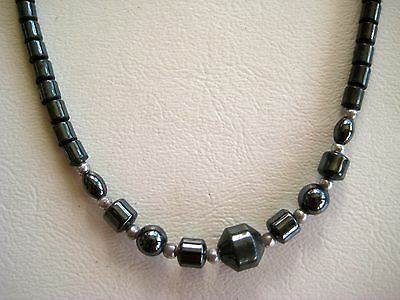 "Hematite Bead Necklace 17"" Unisex Antistress Calming Energy Navajo Pearls"