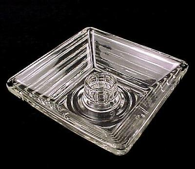 Manhattan Anchor Hocking Depression Glass Square Candle Holder Clear 4 1/4""