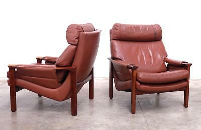 Pair Of Tessa T21 Brown Leather Lounge Chairs - Mid Century Retro Danish Fler