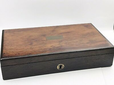 Antique Wooden Old Drawing Instrument Brass Inlaid Box With Key Working Locking
