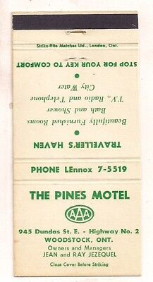 The Pines Motel, 945 Dundas St. E., Woodstock ON Ontario Matchcover 100317