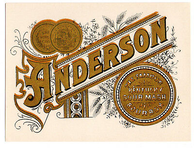 1890 Anderson Distillery, Louisville, Kentucky Sour Mash Bourbon Whiskey Label