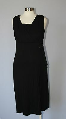 Japanese Weekend Maternity Nursing,  Black Side Sweep Wrap Dress S 6 8 New