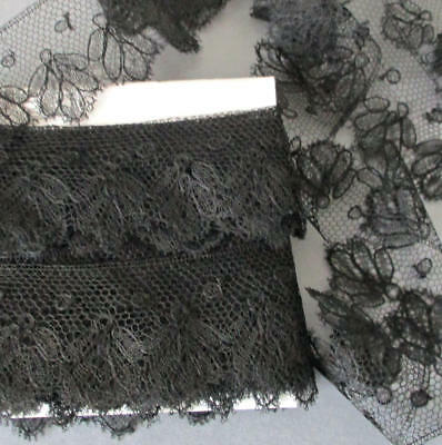"Antique 19thC French Black CHANTILLY Slender LACE Trim 1.5"" Wide X 6Yds+ * DOLLS"