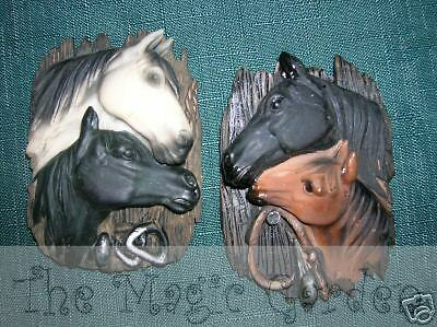 2 different horse head plaques plaster craft latex moulds molds