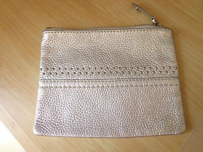Oroton ladies zip pouch / purse or small makeup pouch silver, great cond.