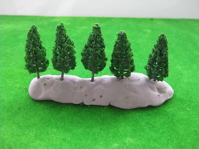 S5818 50pcs Model Pine Trees Deep Green For N Scale Layout 58mm New
