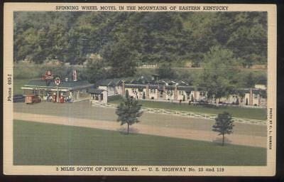 Postcard PIKESVILLE Kentucky/KY Spinning Wheel Motel & TEXACO Gas Station 1940's