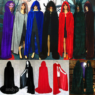 Unisex Velvet Hooded Cloak Medieval Cape Witchcraft Wicca Robe Gothic Costume US