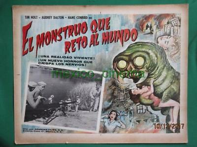 THE MONSTER THAT CHALLENGED THE WORLD Horror AMAZING ART MEXICAN LOBBY CARD