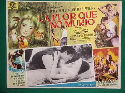 Audrey Hepburn Green Mansions Anthony Perkins Orig Spanish Mexican Lobby Card 3