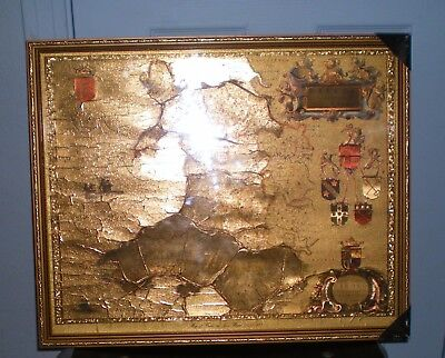 Map of Wales, beautiful Gold Foil, framed under glass, 1600's, coat of arms, Art