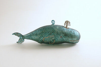 Glass Whale Ornament Vintage Style Christmas Ornament