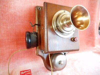 Old Antique Early Brass & Wood Telephone Original Vintage Intercom Circa 1900S