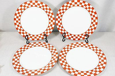 "LOT of 4 Home Trends Farm Fresh Red Checkered Dinner Plates 10 1/2"" Exc."