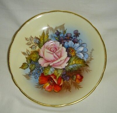 Lovely Vintage English Aynsley J.a. Bailey Flowers Saucer With Gold Gilded Rim