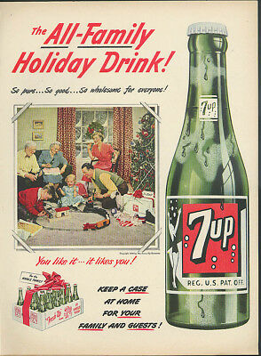 The All-Family Holiday Drink! Seven-Up ad 1950 Lionel or Marx Electric Train