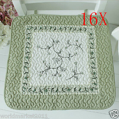 16X European Style Green Embroidery 45 * 45 CM Cotton Practical Chair Mats/Pads