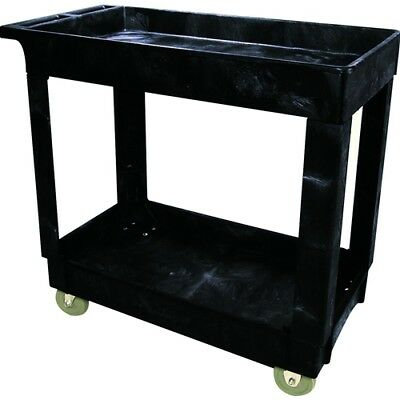 "Rubbermaid FG9T6600BLA 2 Shelf Utility Cart, 4"" (10.2 cm) Casters (9T66)"
